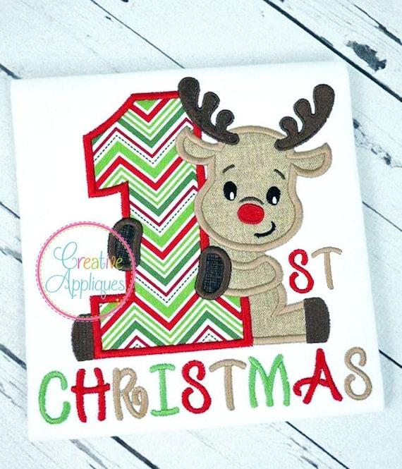Babero de Bebé Personalizado-bordado Baby/'s 1st 2018 Regalo De Navidad Reno