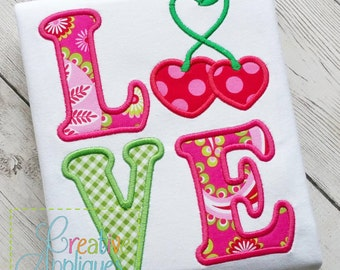 Love Cherries Cherry Applique Machine Embroidery  Design 4 Sizes