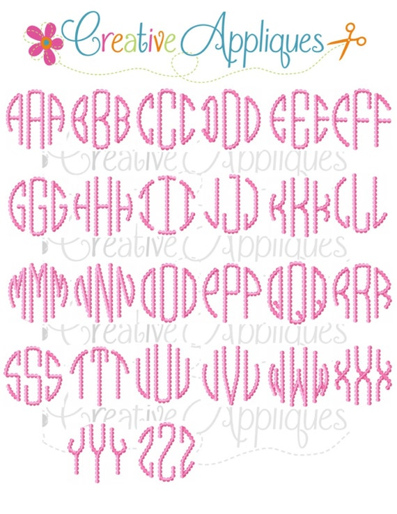 Natural Circle Beaded Dot Embroidery Monogram Alphabet Font Etsy