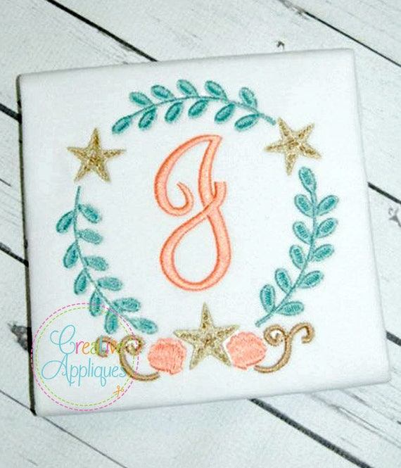 Beach Monogram Frame Digital Machine Embroidery Design 4 | Etsy