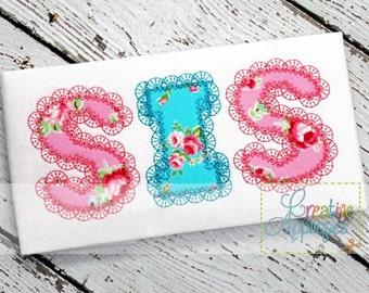4 SIZES Sis Sister Lace Stitch Digital Machine Embroidery Applique Design 4 Sizes