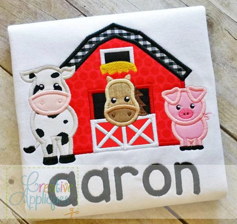 Barn Farm Animals Digital Machine Embroidery Applique Design 5 image 1