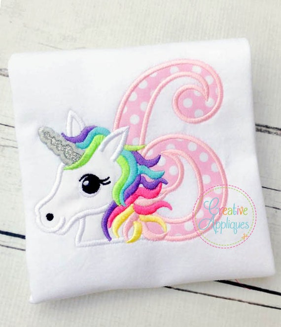 Arco iris unicornio cumpleaños 6 Digital máquina bordado | Etsy
