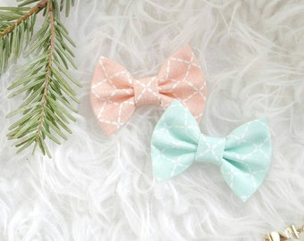 Choose your own large size bow - peach stitch or mint green stitch- headband or clip