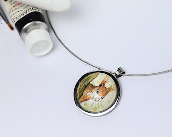 Original Watercolor Handpainted  Squirrel in Pendant, Necklace Leather, Alloy, steel or Genuine 925 Sterling Silver, Jewelry Glass Cabochon