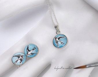 Swallows hand painted real silver stud earrings or pendants, painted original watercolors, set in 12mm 925 sterling silver.