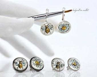 38-55EUR Bee and flower earring, earring or ear stud handpainted, original watercolor, earrings, stainless steel, bee, daisy