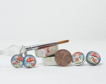 45-60EUR fly agaric earring or ear stud handpainted, original watercolour, ear jewellery, stainless steel,mushroom, lucky charm, earring