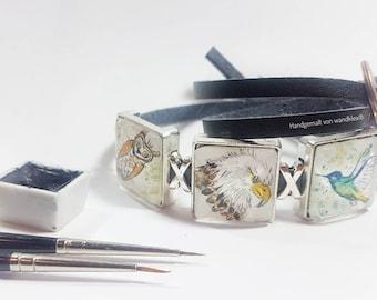your custom order Sliding bead with handpainted miniature watercolour (custom design, also pet portrait after photo),please read description