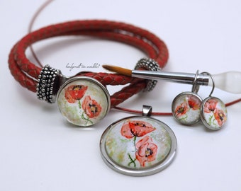25-70 EUR: hand painted poppy motif, original watercolor, set in stainless steel, 925 sterling real silver or gold plated real silver,
