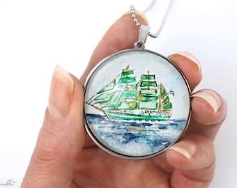 handpainted sailing ship motive, original watercolor, pendant, stainless steel, 4 big pendant, 70cm long necklace, windjammer, green ship