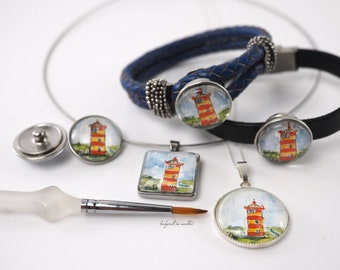 25-67EUR hand painted lighthouse Pilsum jewelry series, original water color miniature in jewelry setting, pendants, necklaces or bracelets.