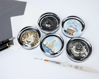 Paperweight with original watercolor, handpainted, paperweight glass, choice of motives maritime, cat, tiger, cow, sailing ship, black rose