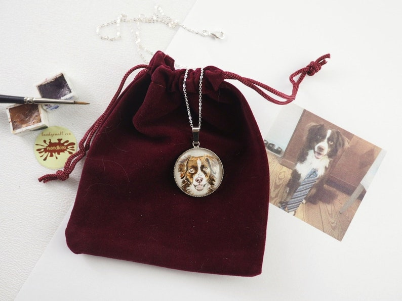 your custom hand-painted  925 Sterling Silver pendant necklace image 0