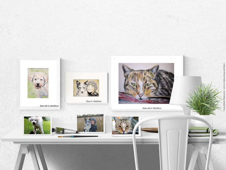 Your order: framed painting with custom motive portrait pet 20x30-Rahmen Solo A5