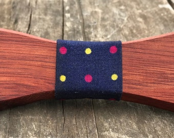Handmade Exotic Bloodwood Clip-On Wooden Bow Tie & Multi Colored Polka Dotted Fabric Notch