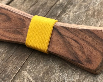Handmade Exotic Bolivian Rosewood Clip-On Wooden Bow Tie With Yellow Cotton Notch