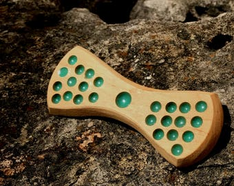Hardwood Maple Polka Dotted Inlaid Crushed Turquoise Wooden Bow Tie