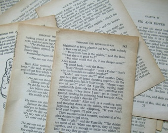Pages of vintage text from Alice in Wonderland and Through the Looking Glass. . 30 Text Pages for Craft.  Alice In Wonderland.