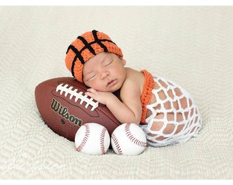Newborn Baby Basketball Sport Hat and Net Set Photography Prop NOW IN PINK