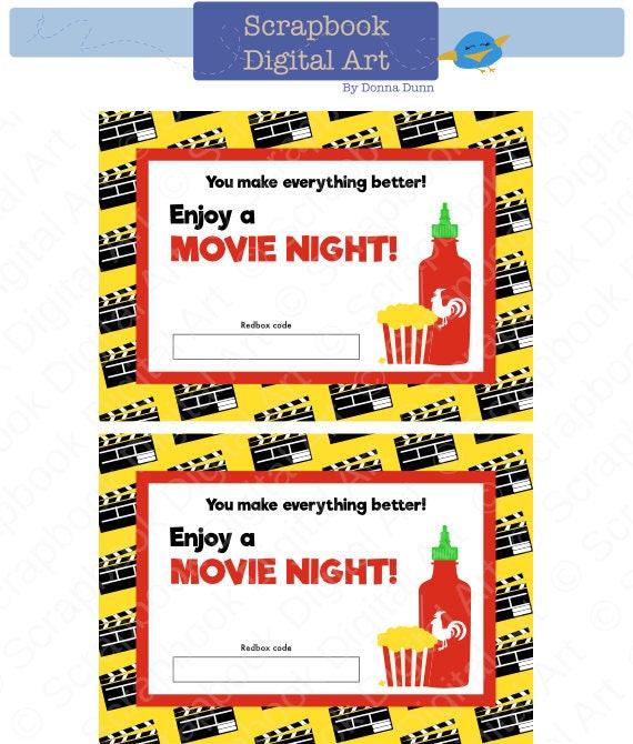 picture regarding Redbox Gift Card Printable identified as Printable Redbox Reward Card Tag, Printable Card, Online video Evening Redbox coupon.
