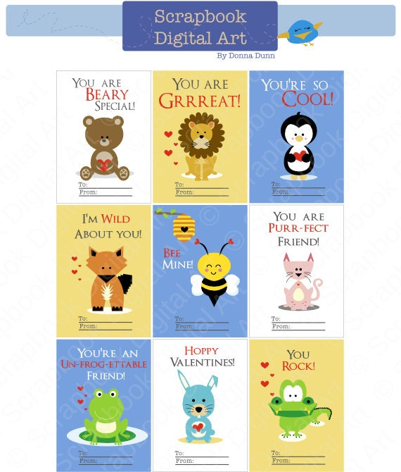 Printable Valentine Cards Kids Valentine Cards Etsy