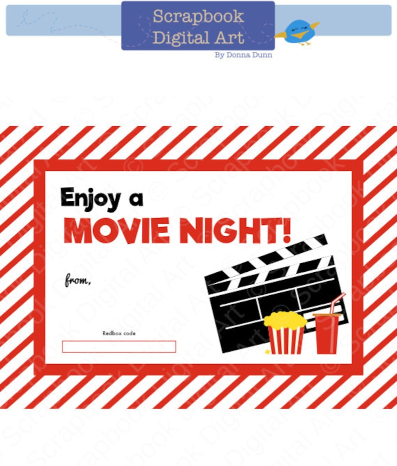 graphic about Redbox Printable named Printable Redbox Reward Card Tag, Printable Card, Video Evening Redbox coupon.