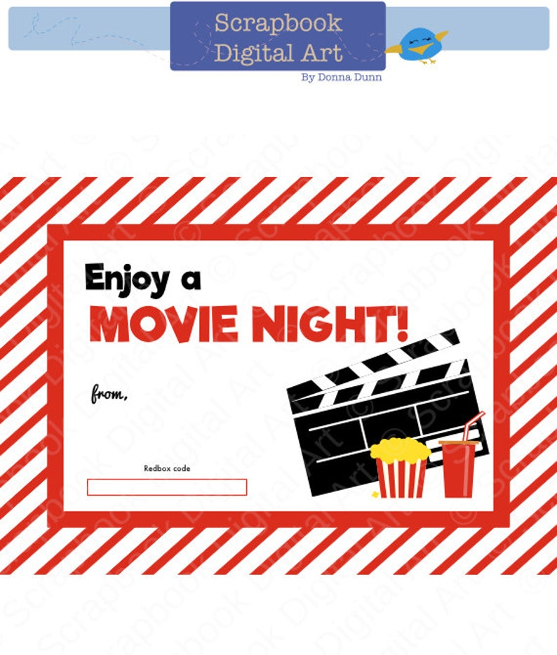 graphic regarding Printable Redbox Gift Cards identify Printable Redbox Present Card Tag, Printable Card, Video clip Night time Redbox coupon.