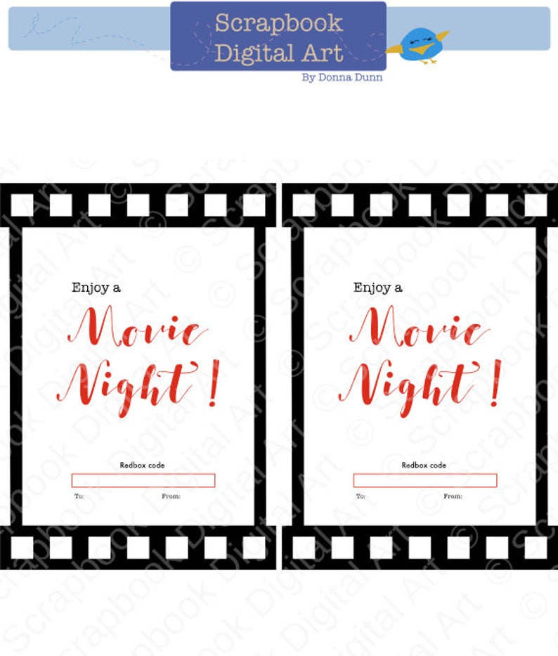 photograph regarding Free Printable Redbox Gift Tags referred to as Printable Redbox Present Card Tag, Printable Card, Video Evening Redbox coupon.