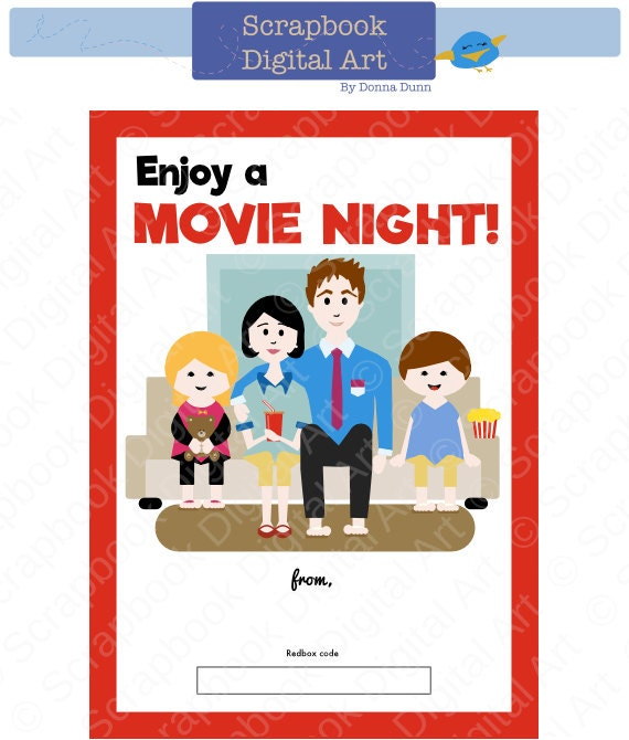 photograph about Redbox Printable Tags known as Printable - Household Video clip Night time, Redbox Reward Card Tag, Printable Card.
