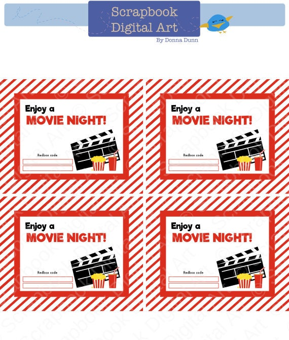 graphic relating to Redbox Gift Card Printable titled Printable - 4x5 Redbox Reward Card Tag, Printable Card, Love a Video clip Night time.