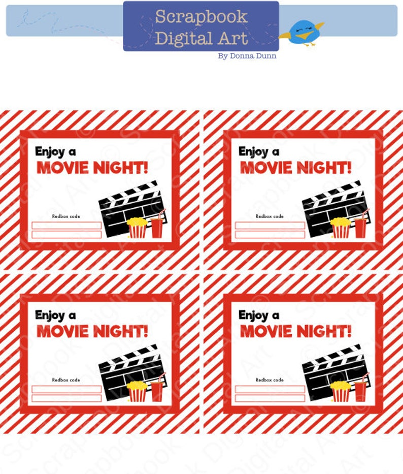 graphic relating to Printable Redbox Gift Card named Printable - 4x5 Redbox Reward Card Tag, Printable Card, Appreciate a Video clip Night time.