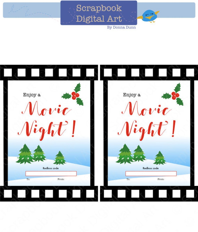 image about Redbox Printable named Printable Redbox Present Card Tag, Love a Video Night time! Printable Card, Online video Night time Redbox coupon.