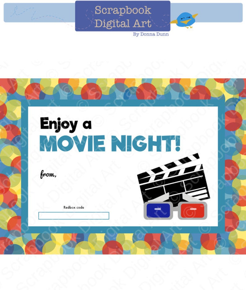 photo relating to Printable Redbox Gift Cards named Printable - Redbox Present Card Tag, Printable Card, Appreciate a Video clip Night time.