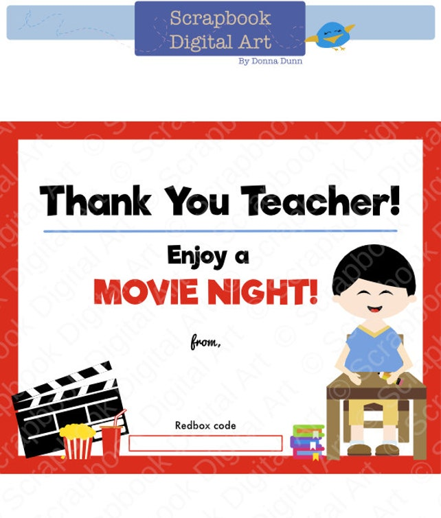 Printable 4x5 Thank you teacher Redbox Gift Card Tag   Etsy