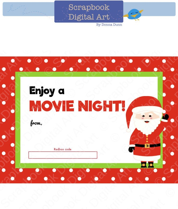image relating to Printable Redbox Gift Cards identified as 5x7 Xmas Printable Redbox Present Card Tag, Printable Card, Online video Evening Redbox coupon.