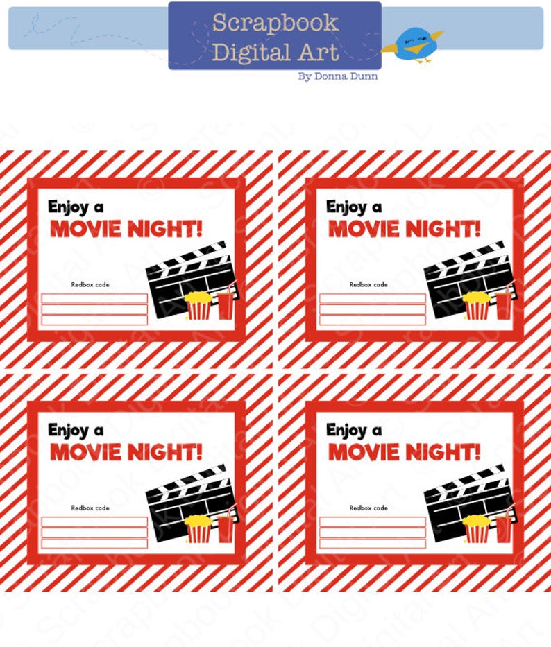 picture regarding Free Printable Redbox Gift Tags titled Printable - 4x5 Redbox Present Card Tag, Printable Card, Delight in a Video clip Evening.
