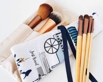 Small brush roll - Navy blue brush roll - Polka dot brush roll - Makeup brush roll - Brush organizer - Beige brush roll - Paris brush roll