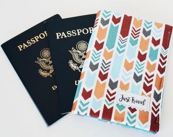Passport cover - Small travel wallet - Passport holder - Family travel wallet - Travel wallet - Teal travel wallet - Burgundy travel wallet