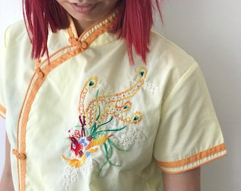 Vintage 50's 60's Asian Style Pale Yellow Pajama Set
