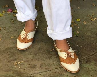 73cbf304d9508 Tan wing tip shoes | Etsy