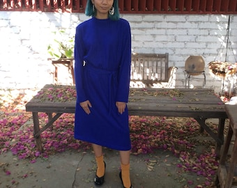 Vintage Knit Column Dress with Long Sleeves And Matching Belt