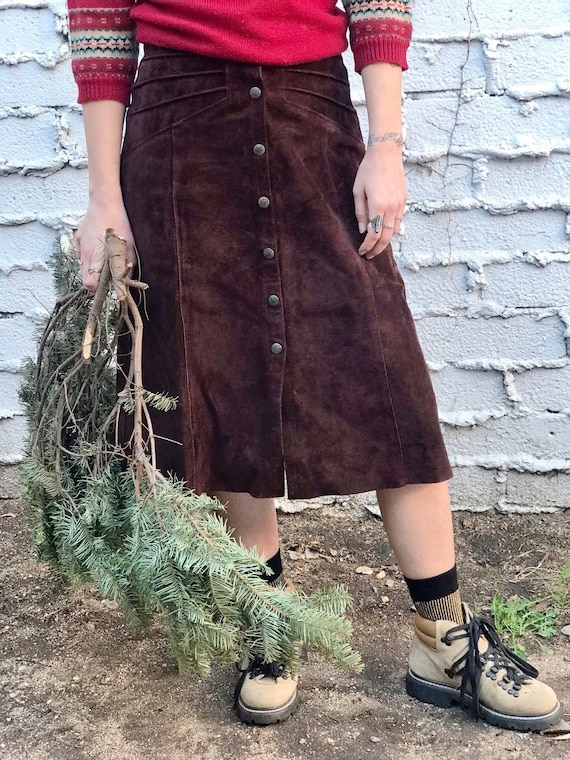 Vintage Chocolate Brown Suede Leather Skirt with B