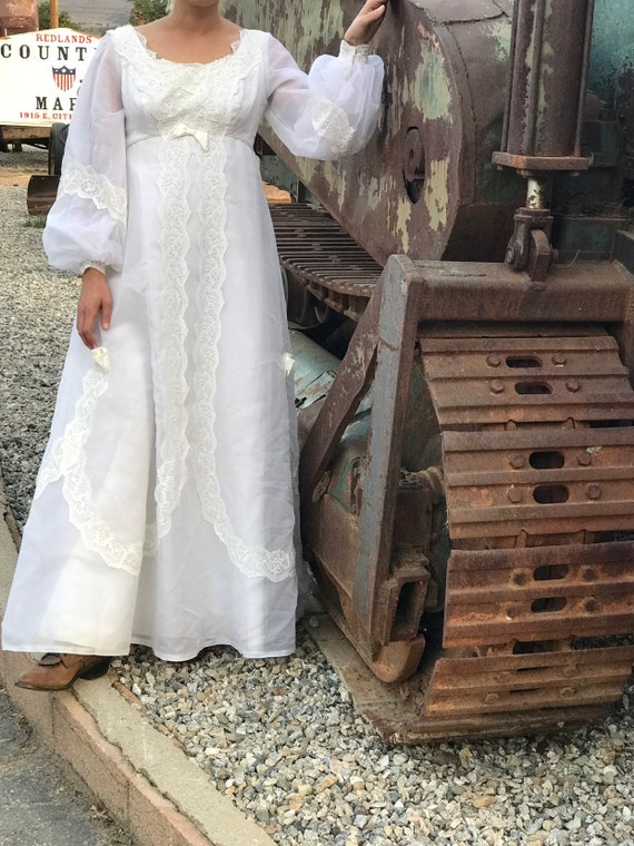 Vintage 60s White Wedding Dress Maxi Dress with Bi