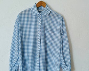 Vintage Blue and White Gingham Blouse Long Sleeve Button Up Shirt