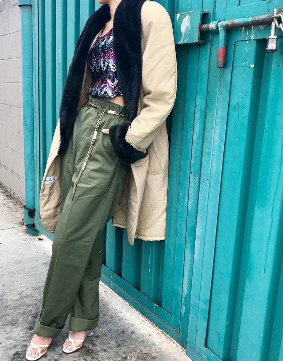 Vintage Military Utility Trousers Army Green High