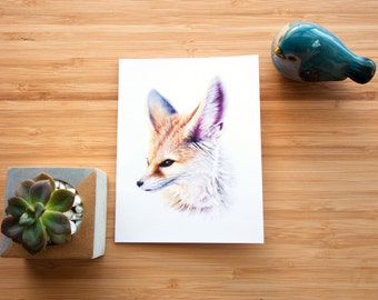 Fennec Fox CARD (3-pack) - Nature Painting - A2 Invitation Size - Wildlife Fox Painting - Fine Art - Blank Cards - Greeting Cards - Animals