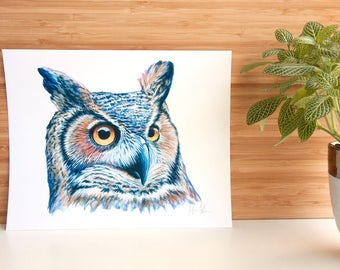 Great Horned Owl PRINT - 8x10 - Animal Art Print - Wildlife Bird Painting - Fine Art - Owl - Strigidae - Ornithology