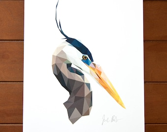Geometric Bird 8x10 Print - Great Blue Heron
