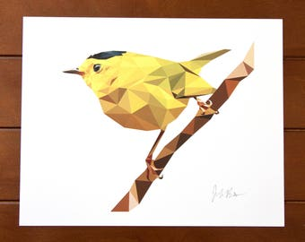 Geometric Bird 8x10 Print - Wilson's Warbler - Yellow Bird